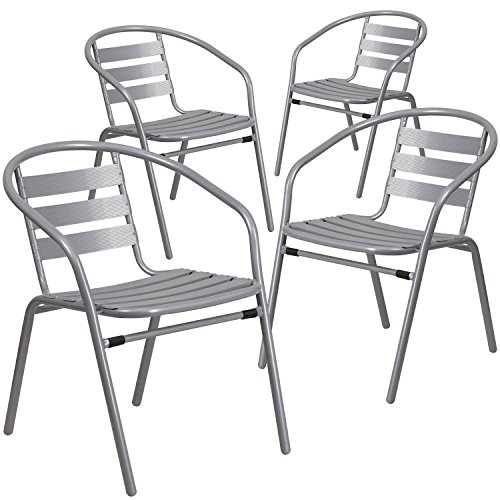 Flash Furniture 4 Pk. Silver Metal Restaurant Stack Chair with Aluminum Slats