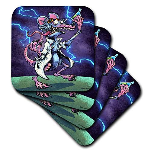 3dRose Flyland Designs - Light, Funny, Cartoon, Rat - Mad scientist rat holding a beaker beneath a stormy sky - set of 8 Coasters - Soft (cst_295922_2)