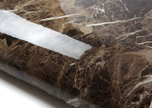 ROSEROSA Peel and Stick PVC Instant Marble Decorative Self-Adhesive Film Countertop Backsplash Marron Emperador (PGS4020 : 2.00 Feet X 6.56 Feet) ()