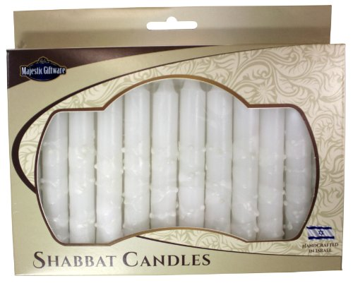 Majestic Giftware SC-SHWT-WD Safed Shabbat Candle, 5-Inch, White Drops, 12-Pack 12 Safed Shabbat Candles