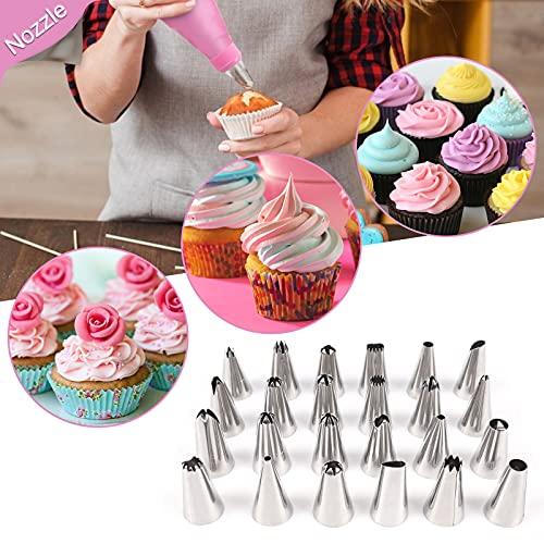 NANAKKI Cake Decorating Kits 35Pcs - Cooking Decorations Supplies Pastry Icing Tip & Spatula Set Cakeware Cupcake Mold Decoration Tool Coupler Fondant Tools for Beginner Scraper Coupler(PINK)
