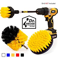 Color:Medium-yellow Quantity:4 pack Packing Includes: 4 inch Round Brush; Cordless Drill NOT included. inch Round Brush; Long Round Brush; Extended reach attachment Material: Premium Quality Bristle Stiffness: Medium; Stainless Stee...
