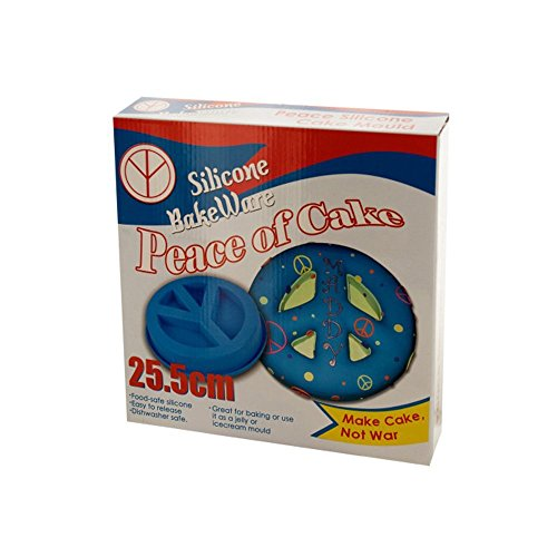 Peace Sign Cake Mold Plastic Silicone Bake Ware Blue