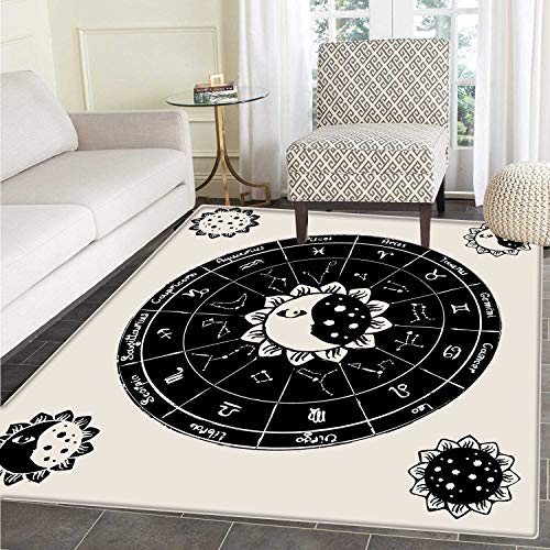 Sun and Moon Customize Floor mats for home Mat Vintage Dotted Floral Motifs Celestial Figures Constellations Zodiac Signs Oriental Floor and Carpets 3'x5' Black Beige