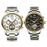 MonkeyJack 2 Pieces Luxury Men's Automatic Mechanical Calendar Chronograph Stainless Steel Watch