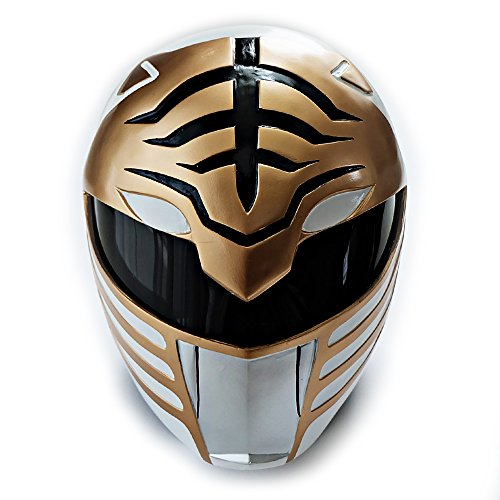 1:1 Scale Halloween Costume Cosplay Mask Movie Game Prop Gift Mighty Morphin White Tiger Power Ranger Helmet PR01