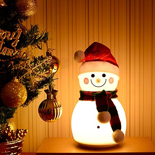 Youtree USB Snowman Silicone Night Light Colorful Atmosphere Light Christmas Decoration (Color : Red)