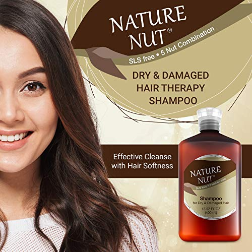 Nature Nut Dry & Damaged Hair Repair Shampoo - Hypoallergenic Hair Cleansing Moisturizer with 5 Nut Hydration Boost Formula for Hair and Scalp