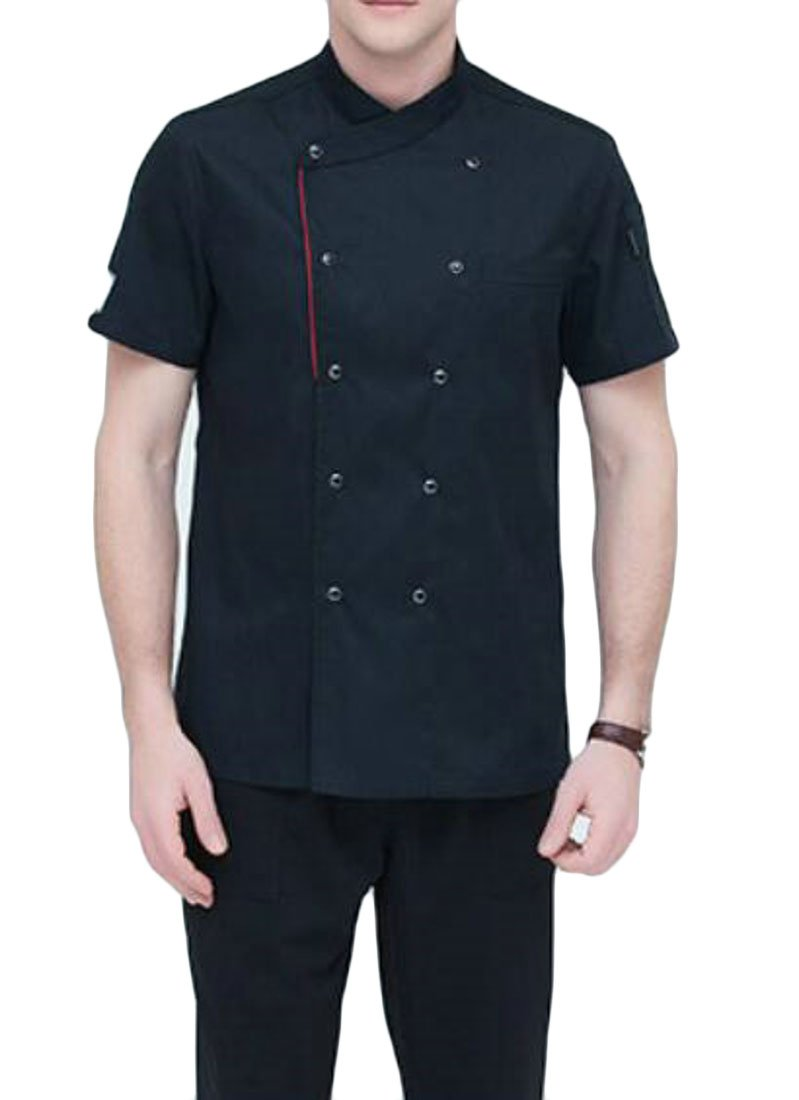 WAWAYA Men Short Sleeve Double Breasted Summer Chef Jacket Kitchen Cook Coat Uniforms Black M
