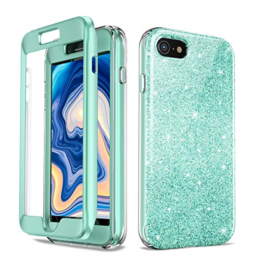 Shiny Glitter - Glitter Case Compatible with iPhone 7 iPhone 8 Case Luxury Shiny Glitter Sparkle Bling Case for iPhone 7/8 Bling Anti-Slick Cover, Protective Case for iPhone 7/8 with Built-in Screen Protector (Green)