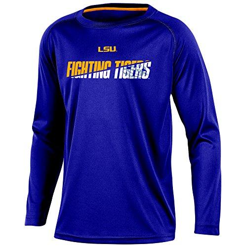 NCAA Lsu Tigers Youth Boys Long Sleeve Crew Neck T-shirt, X-Large (Purple Youth Tigers Raglan)