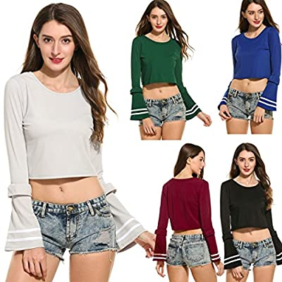 eshion Women Long Sleeve Crop Tops Bell Trumpet Flare Sleeve Shirt Scoop Neck Blouse Casual Tops