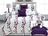 Legacy Decor 7pc. Microfiber Reversible White, Purple and Pink, Lilac Vines Design Comforter Set. King Size