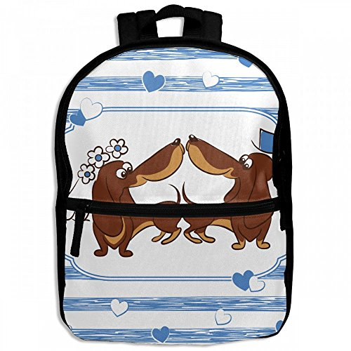 Dachshund Dog Wedding Funny Childrens School Backpacks Casual Daypack Travel Outdoor For Boys And Girls by Thoreau Holmes