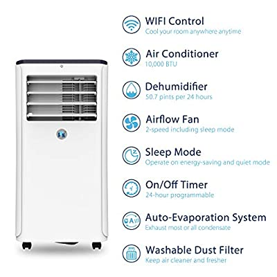 JHS 10,000 BTU Portable Air Conditioner WiFi, 3-in-1 Floor AC Unit with 3 Fan Speeds, Remote Control and Digital LED Display