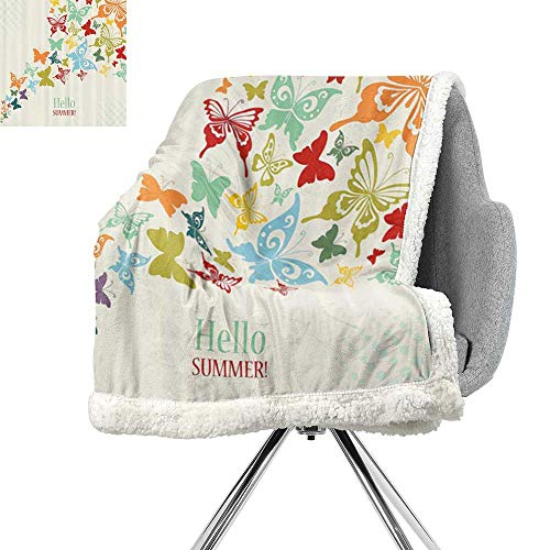 ScottDecor Butterflies Decoration Throw Blanket,Vintage Background with Butterflies and Dots Hello Summer Greeting Text,Soft Premium Cotton Thermal Blanket W59xL78.7 ()