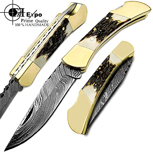 Stag Horn Double Brass Bloster 7.5'' Handmade Damascus Steel Folding Pocket Knife With Back lock Top Quality