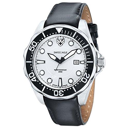 Mens Swiss Eagle Ballast 3 Hand/Date White Dial/Blk Lthr Watch