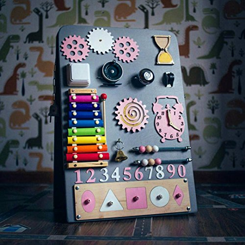 Shafa-15 European quality. Handmade Wooden Busy board, Clever Puzzles, Locks and Latches Activity Board (grey + pink) by MebliLine