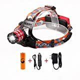 Headlight, High Powered Lumen Bright Zoomable Headlamp Flashlight Torch CREE XMK-T6 LED with Rechargeable Batteries and Car Wall Charger for Hiking Camping Riding Fishing Hunting (Red)