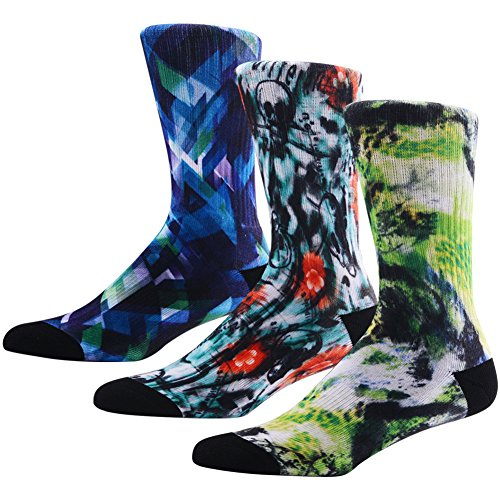 (Novelty Crazy Crew Socks for Men, MEIKAN Adult Funny Modern Various Funky Pattern Mixed Art Colors Long Socks 3 Pairs, Color 10,One Size)
