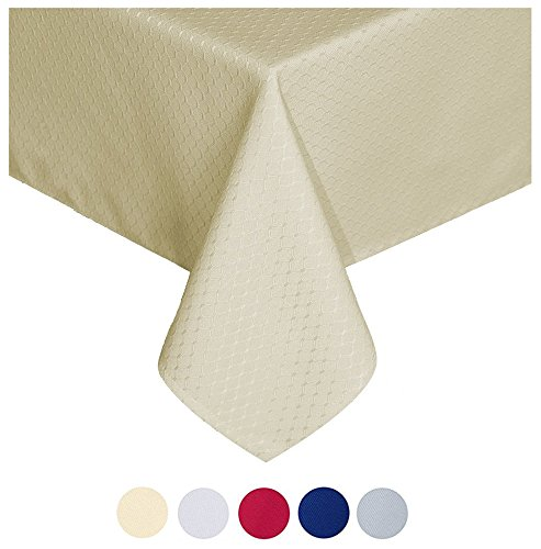 Tektrum 70 X 70 inch Square Elegant Waffle Weave Check Jacquard Tablecloth Table Cover -Waterproof/Stain Resistant/Spill Proof/Wrinkle Free - Great for Dinner, Banquet, Parties, Wedding - Tablecloth Beige Square