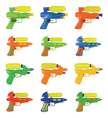 Set of 12 Double Shot Water Squirt Guns Party Pack (Assorted Colors)