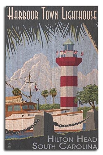 Lantern Press Hilton Head, South Carolina - Harbour Town Lighthouse (10x15 Wood Wall Sign, Wall Decor Ready to Hang)