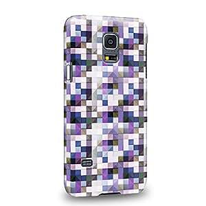 Case88 Premium Designs Art Purple Blue And Black Cube Puzzle Geometric Pattern Carcasa/Funda dura para el Samsung Galaxy S5 mini (No Normal S5 !)