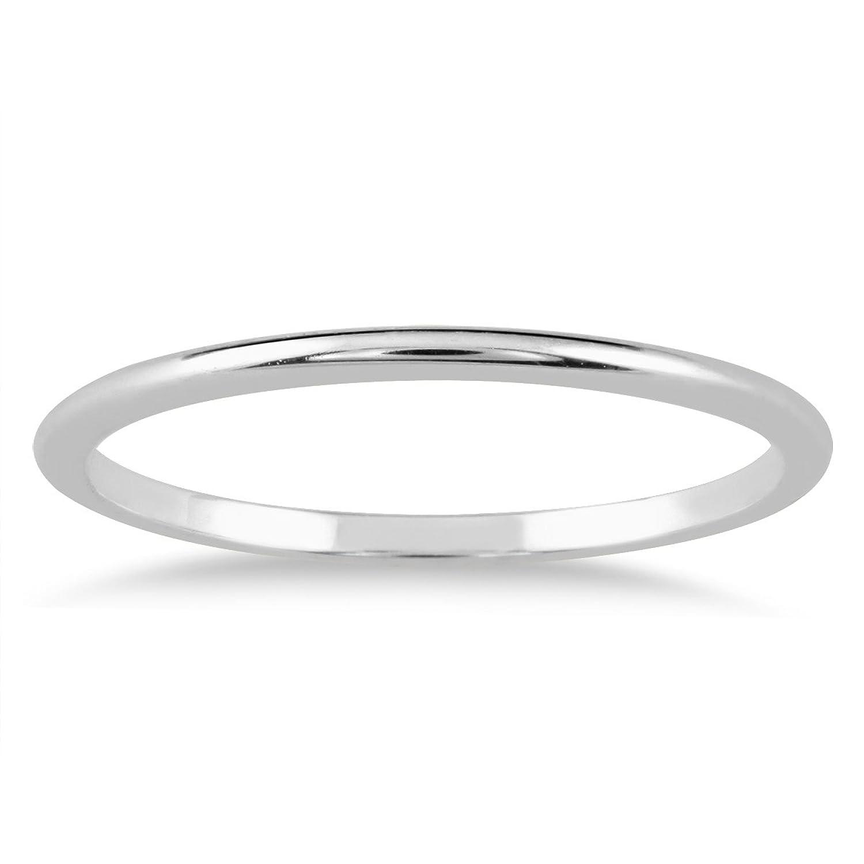 Amazon 1mm Thin Domed Wedding Band In 14K White Gold SZUL Jewelry