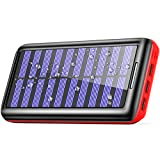 Solar Charger BERNET 24000mAh Ultra High Capacity Portable Solar Power Bank with USB Fan and 3 USB Ports External Battery Pack Phone Charger for Cellphones,Android Phones,Tablet and More (Red)