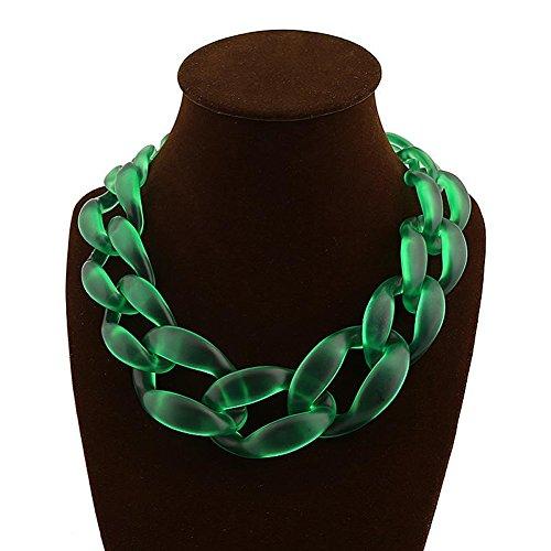 Chunlin Fashion Jewelry Acrylic Collar Chunky Choker Statement Chain Necklace Pendant - Statement Bold