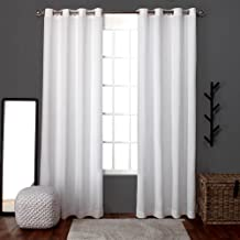 Exclusive Home Curtains Loha Linen Grommet Top Window Curtain Panel Pair, Winter White, 54x84