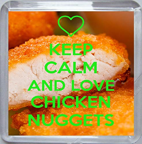 Keep Calm and Love Chicken Nuggets Medium Square Acrylic Coaster