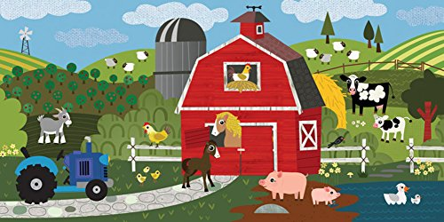 Oopsy Daisy Fine Art for Kids A Day on the Farm Stretched Canvas Art by Jenn Ski, 36 by 18-Inch