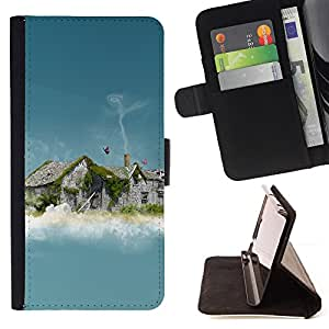 BullDog Case - FOR/Samsung Galaxy S3 III I9300 / - / Abstract House Smoke /- Monedero de cuero de la PU Llevar cubierta de la caja con el ID Credit Card Slots Flip funda de cuer