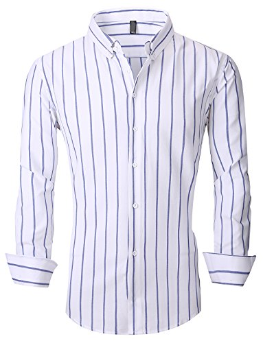 54427688459 XTAPAN Men s Long Sleeve Casual Slim Fit Vertical Striped Button Down Dress  Shirt