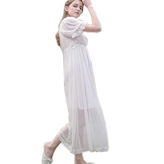 f720f01e9d Womens  Summer Lace Vintage Nightgown Victorian Princess Nightdress  Chemises Babydoll Pajamas Lounger Sleepwear at Amazon Women s Clothing  store