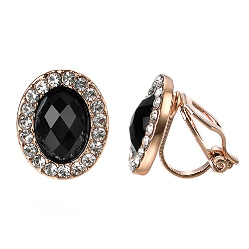 Yoursfs Black Clip Earrings Circular Halo Crystal 18k Rose GP Jewelry for - Black Clip Earrings
