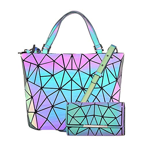 (HotOne Geometric Purse Holographic Purse and Handbag Color Changes Luminous Purse and Wallet Set for Women (Luminous Medium + Wallet Set) )