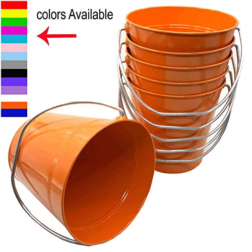 (ITALIA 6 Pack Metal Bucket, Orange Metal Bucket 5