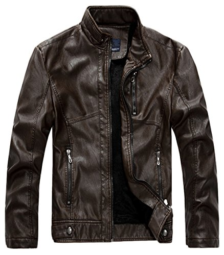 chouyatou Men's Vintage Stand Collar Pu Leather Jacket (Large, -