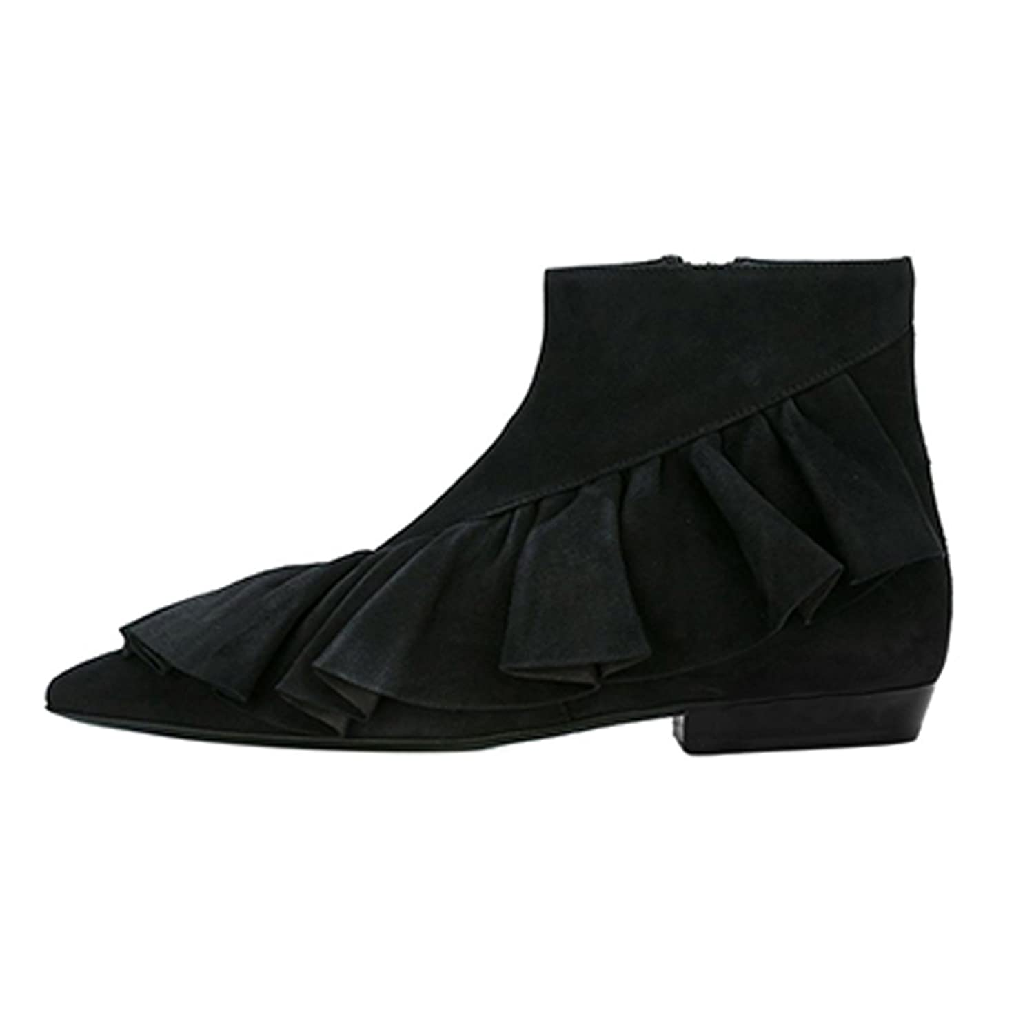 New Design Chic Pointed Toe Falbala Splicing Ankle High Flat Boots for Women