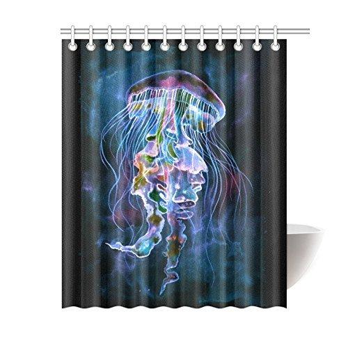 "Home Bathroom Decor Watercolor Jellyfish Underwater Shower Curtain Hooks Blue Black Fabric Watercolor Jellyfish Underwater Art in the Deep Sea Ocean 70.8""W x 75""H"