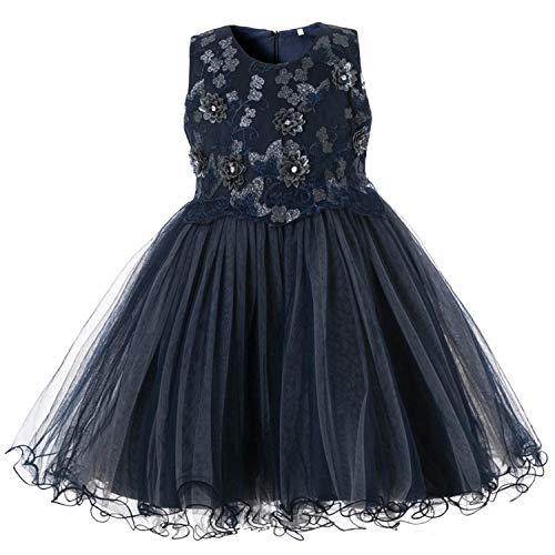 MoMo Elegant Girls Dress for Wedding Birthday Party Princess Flower Girl Dresses Kids Formal Ball Gown Tulle Fancy Frocks,0611 Navy Blue,2T
