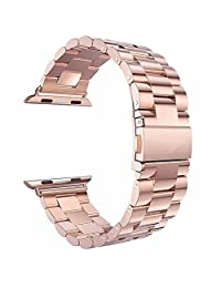 Watch Band , ANGGO Stainless Steel iwatch Strap Replacement Wristwatch Bracelet for Apple Watch Series 2 Series 1 All Version (38mm / Rose Gold)