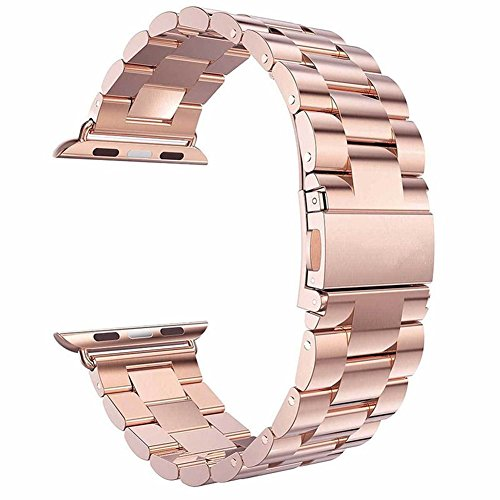 Gold Ladies Watch Band (Watch Band , ANGGO Stainless Steel iwatch Strap Replacement Wristwatch Bracelet for Apple Watch Series 3 Series 2 Series 1 All Version (38mm / Rose Gold))