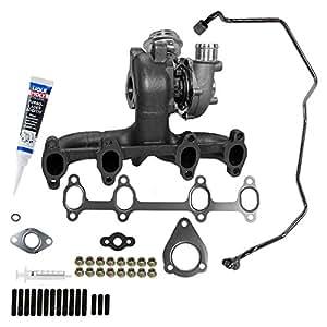 1x Colector de escape con Turbocompresor completo incluido set de montaje y tubo de aceite AUDI A3 8L 1.9 TDI ...