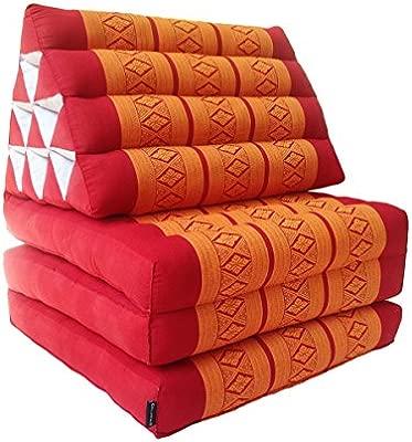 Colchón de meditación tailandés tradicional reclinable, con cojín de respaldo triangular de estilo oriental y fibra kapok para yoga, masajes o ...