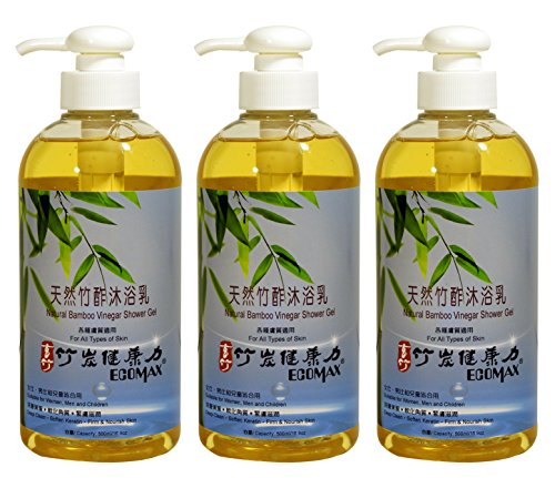 Natural Shower Gel Beauty Soap Body Wash Lotion With Bamboo Vinegar Cleanse Body Deeply,Special for Sensitive Skin,Rough Skin,Keratosis Pilaris,Skin Bump,Body Odor,Keratin,16.9oz,Taiwan 3 Bottle